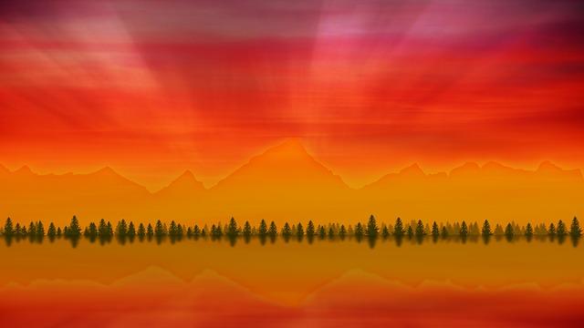 Sunset, Dawn, Nature, Panoramic, Bright
