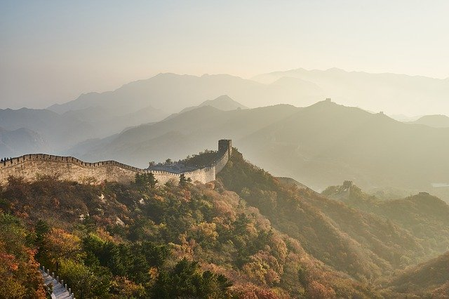Great Wall, Mountain, Sunset, Landscape, Panoramic