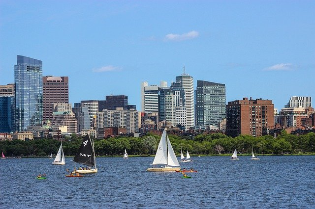 Water, City, Travel, Architecture, Panoramic, Boston