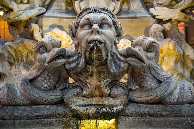 Fountain, Water, Sculpture, Jet, Fish, Pantheon