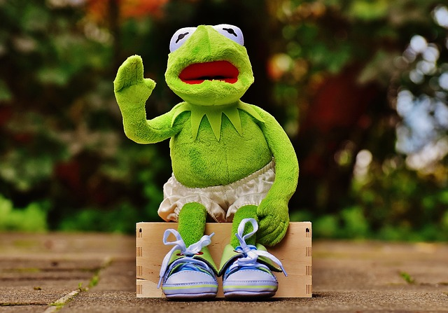 Kermit, Sit, Bank, Sneakers, Pants, Frog, Funny, Wave