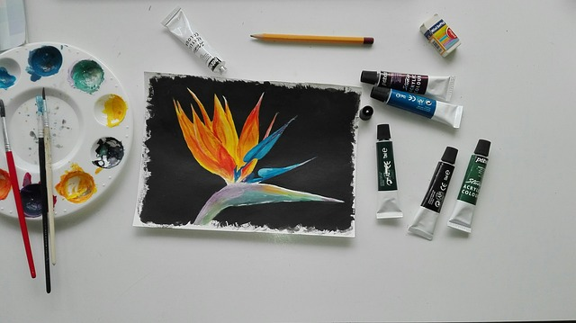Painting, Watercolor, Brush, Flower, Papagájvirág