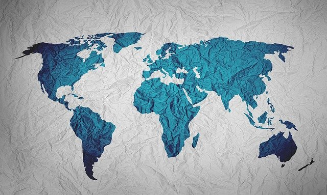 Map Of The World, Background, Paper, Color, Blue, Globe