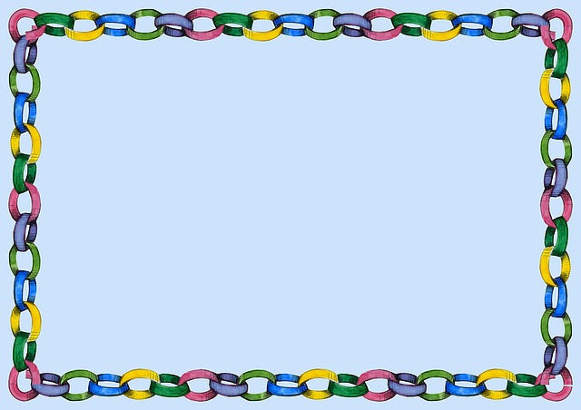 Party, Paper Chain, Blue, Yellow, Green, Pink, Purple