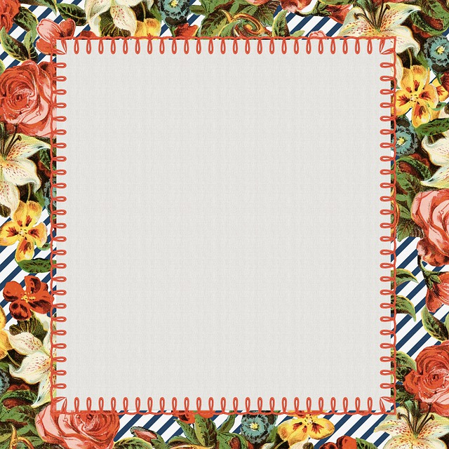 Digital Paper, Floral, Vintage, Stitching, Paper