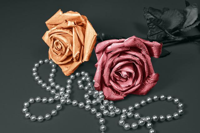 Rose, Paper Rose, Artificial Flower, Pearls, Jewelry