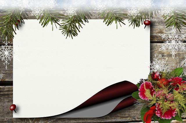 Bulletin Board, Christmas, Wood, Paper, Flower, Red