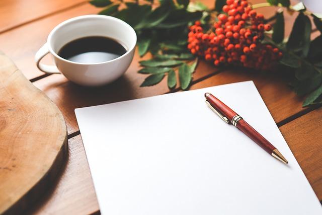 Blank, Paper, Pen, Coffee, Work, Working, Desk, Wooden