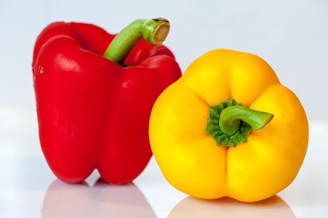Paprika, Vegetables, Yellow, Red, Food, Eat