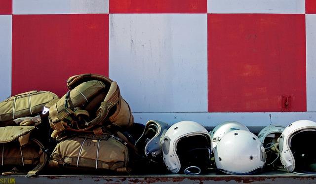 Flight Helmets, White, Bone Domes, Parachutes