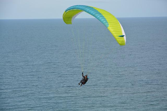 Paragliding Flight Over Sea, Paraglider