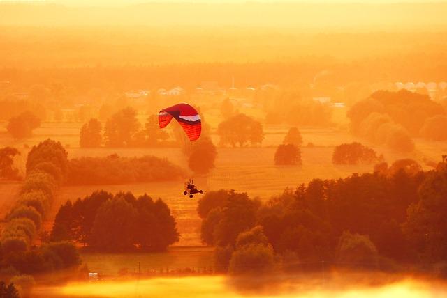 Paraglider, Landscape, Fly, Sunset, The Fog, Village