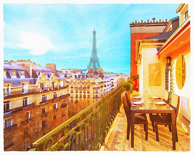 Watercolor Paris, Paris Balcony, Eiffel Tower
