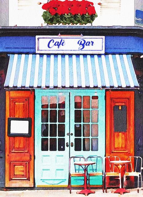 Watercolor Cafe, Paris Cafe, Bistro, Restaurant, France