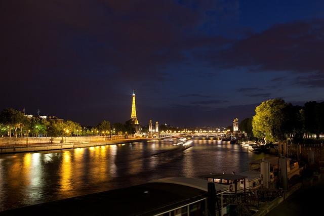 Seine, Tower, Eiffel, City Night, Paris