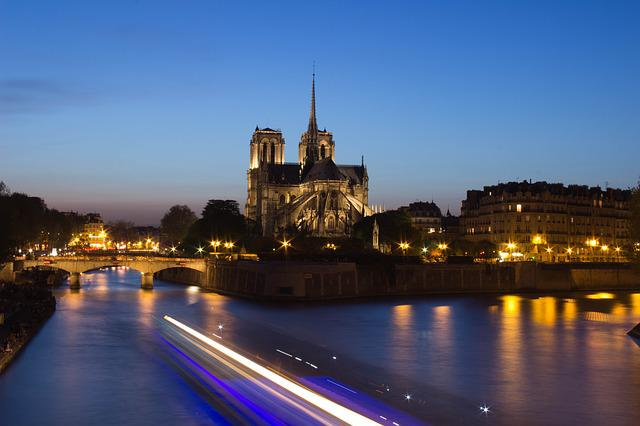 Paris, Summer, Our Lady, River, Night, Long Exposure