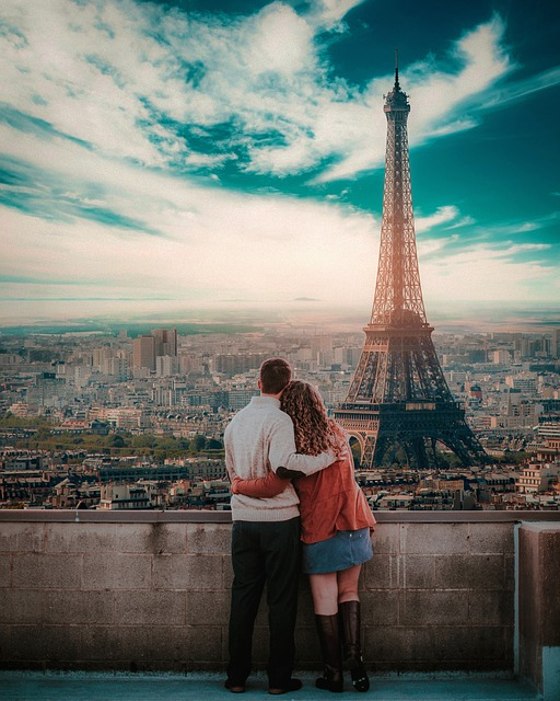 Paris, Couple, Cityscape, City, Blue Sky, Sunny Day