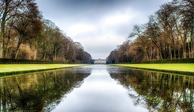 Castle, Park, Düsseldorf, Benrath, Mirroring, Mirrored