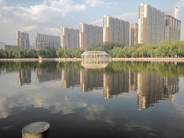 Park, Lake, Building