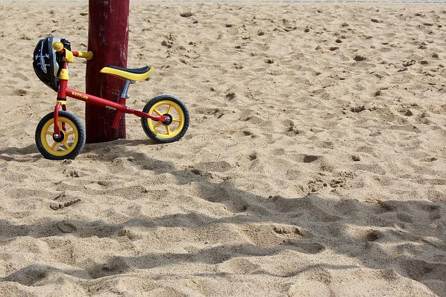 Child's Bike, Bike, Sand, Helm, Bicycle Helmet, Park