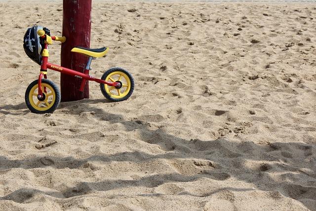 Child's Bike, Bike, Sand, Helm, Bicycle Helmet, Park