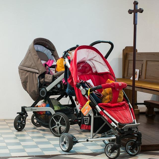 Baby Carriage, Church, Cross, Children, Faith, Park