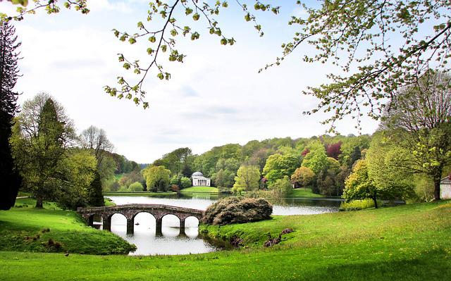 Stourhead, Park, Garden, Landscape, Painting, England