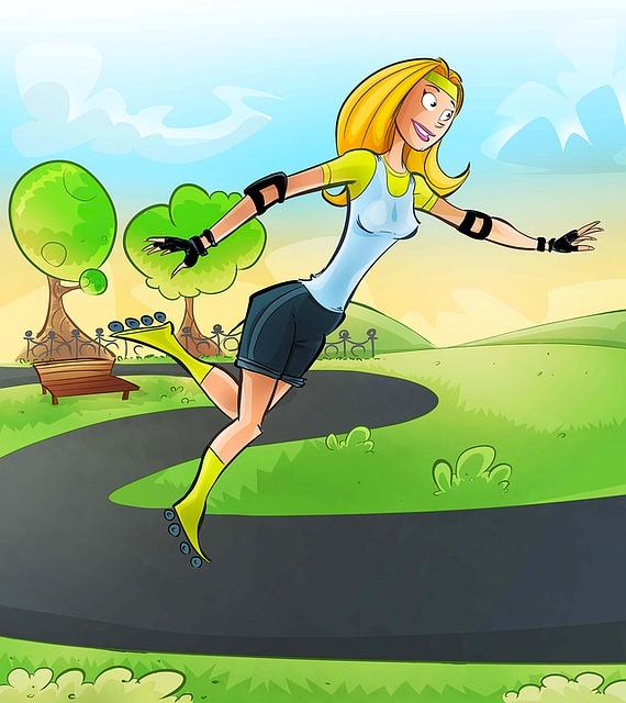 Rollerblades, Sport, Park, Sky, Green, Woman, Landscape