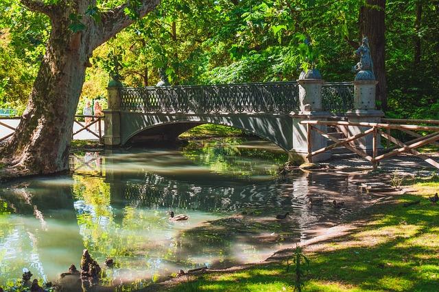 Bridge, Park, Lake, Forest, Morning, Sunshine