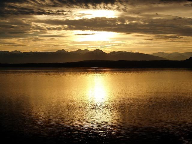 Alaska, Sunset, Glacier, National, Park, Romantic