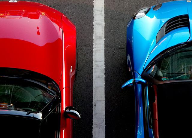 Cars, Blue, Red, Parking, Parked, Dual