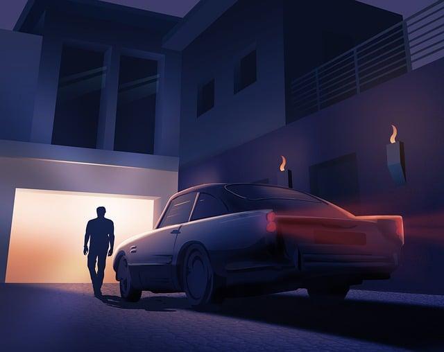 Man, Car, Parking, Night, Home, Aston Martin, Villa