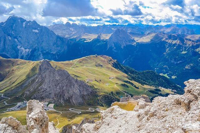 Dolomites, Sella, Passo Pordoi, Pass Road, Mountains