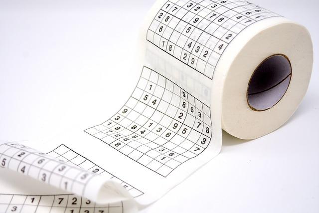 Toilet Paper, Sudoku, Pastime, Funny, Role, Paper