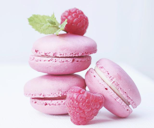 Macarons, Raspberries, Mint, Pastries, French Pastries