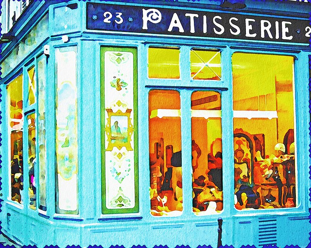 Watercolor, French Building, Patisserie, Murais, Jewish