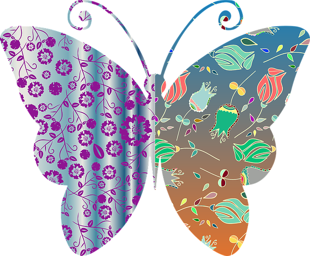 Vintage, Style, Floral, Butterfly, Pattern, Abstract