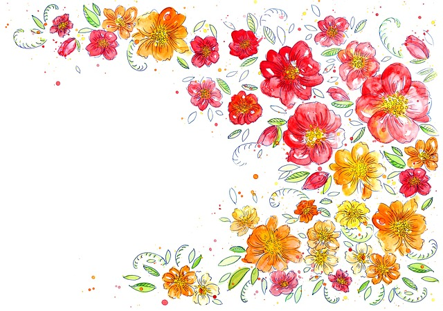 Background, Flowers, Watercolor, Creativity, Pattern