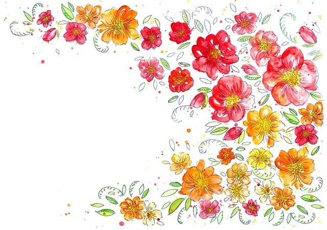 Background, Flowers, Watercolor, Creativity, Pattern