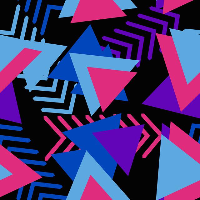 Memphis, Pattern, Geometric, Abstract, Black, Blue
