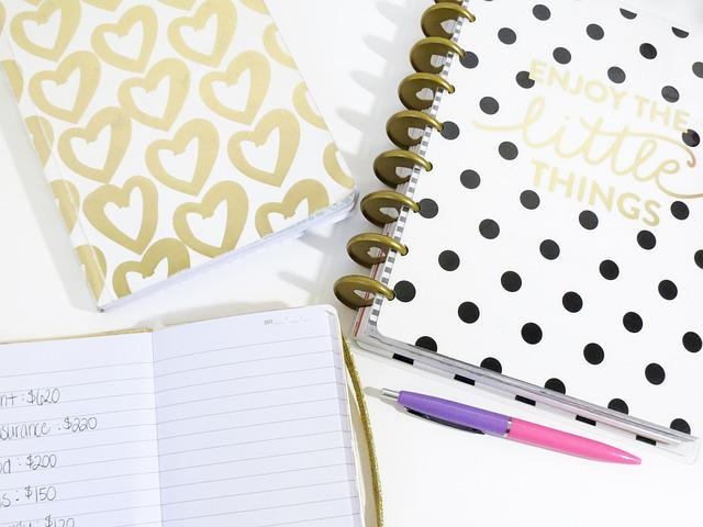 Hearts, Planner, Pen, Notebook, Cute, Pattern, Write