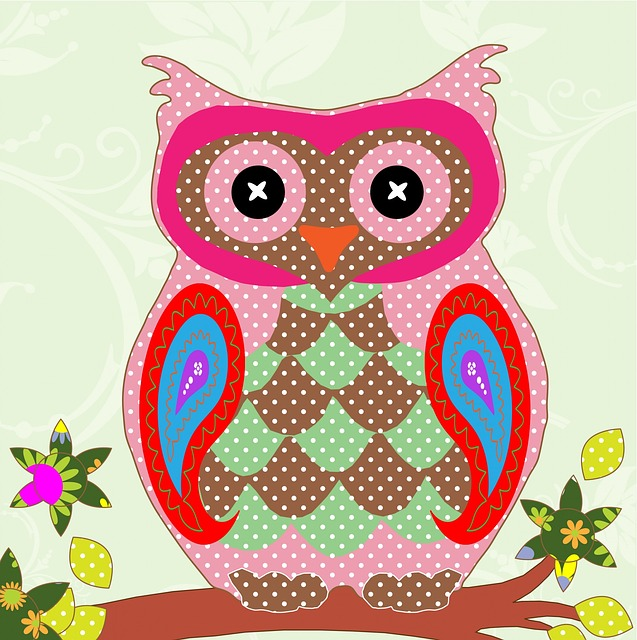Owl, Bird, Art, Colorful, Pattern, Patchwork