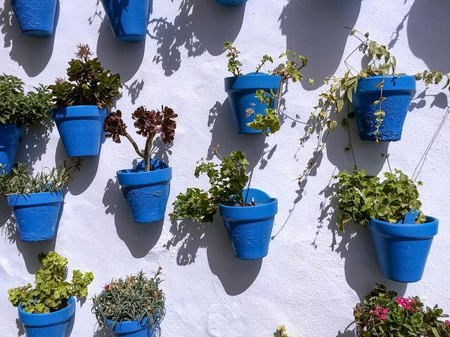 Pots, Blue, Wall, Pattern, Flower, Sun, Andalusia