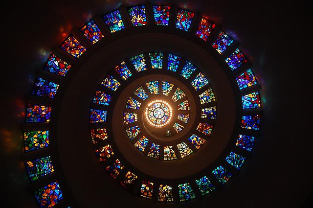 Stained Glass, Spiral, Circle, Pattern, Glass, Religion