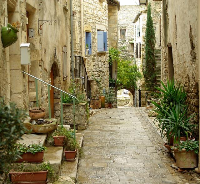 Lane, Medieval Village, Pavers, Arcade