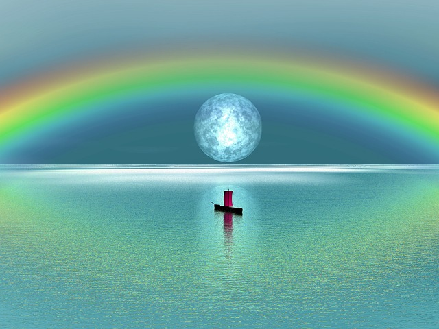 Rainbow, Moon, Lake, Sailing, Boat, Sail, Peaceful