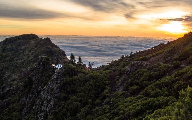 Madeira, Island, Peak, Chalet, Sunrise, Sunset, Ocean