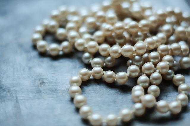 Pearl, Chaplet, Beads, White, Mother Of Pearl, Vintage