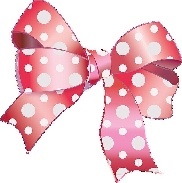 Peas, Dots, Node, Gift, Ribbon, Pink, Pearl