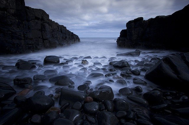 Rocks, Pebbles, Sea, Long Exposure, Ocean, Beach